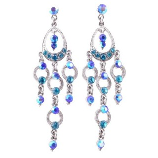 38210-05 METAL AND CZECH CRYSTAL 74 X 22 MM EARRINGS