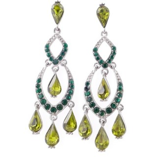 38208-01 METAL AND CZECH CRYSTAL 70 X 18 MM EARRINGS
