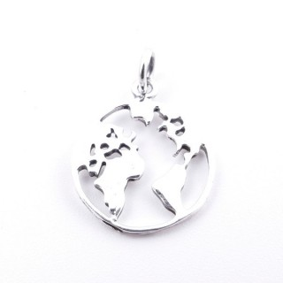 55283 STERLING SILVER 14 MM WORLD MAP PENDANT