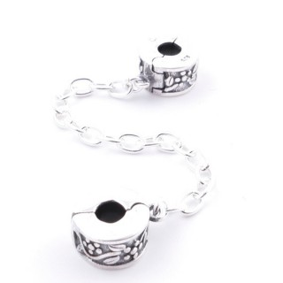51121 SOLID SILVER 9 MM DOULBE CLASP FOR BRACELET WITH 5 CM CHAIN