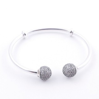 51116 STERLING SILVER 18 CM OPEN BANGLE WITH ZIRCONS