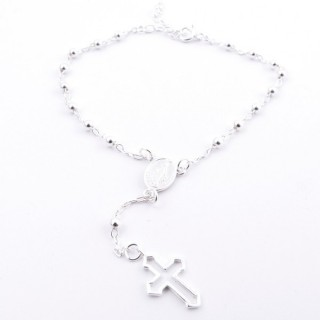 51106 ROSARY TYPE 18 CM SILVER BRACELET WITH 3 MM BALLS