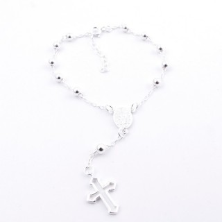 51105 ROSARY TYPE 19 CM SILVER BRACELET WITH 4 MM BALLS