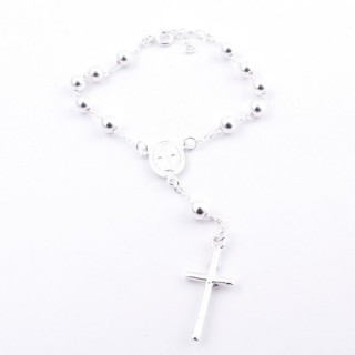 51104 ROSARY TYPE 16 CM SILVER BRACELET WITH 5 MM BALLS