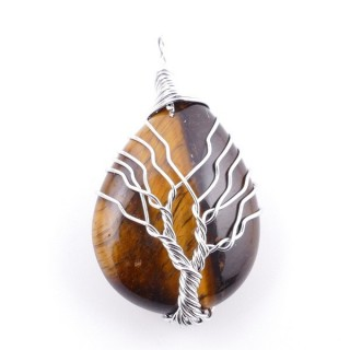 38506-09 METAL & DROP SHAPED TIGER'S EYE STONE 42 X 23 MM PENDANT