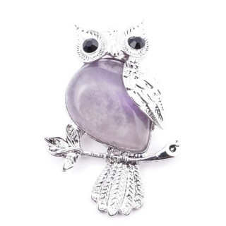 38507-05 METAL OWL SHAPED 47 X 33 MM PENDANT WITH AMETHYST STONE