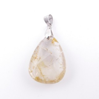 38101-05 NATURAL RUTILE QUARTZ STONE PENDANT WITH METAL HOOK