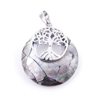 37317-36 ABALONE SHELL 28 MM PENDANT WITH METAL TREE OF LIFE