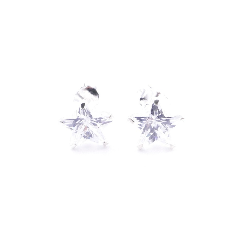 51093 STERLING SILVER EARRINGS WITH 8 MM ZIRCON STAR