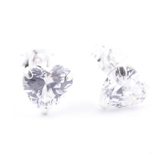 51094 STERLING SILVER EARRINGS WITH 6 MM ZIRCON HEART
