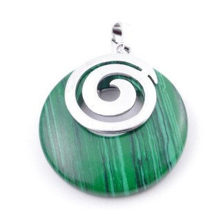 38102-06 SYNTHETIC MALACHITE STONE 28 MM PENDANT WITH METAL SPIRAL