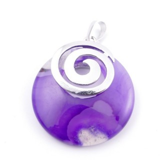38102-27 AGATE STONE 28 MM PENDANT WITH METAL SPIRAL