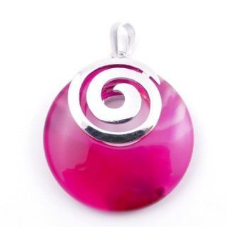 38102-29 AGATE STONE 28 MM PENDANT WITH METAL SPIRAL