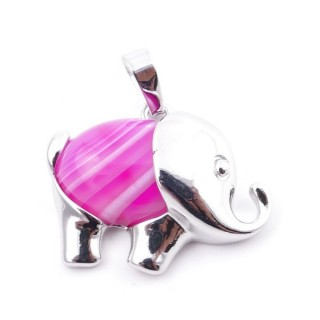 36031-29 METAL ELEPHANT 23 X 27 MM PENDANT WITH STONE IN CARNEOLE