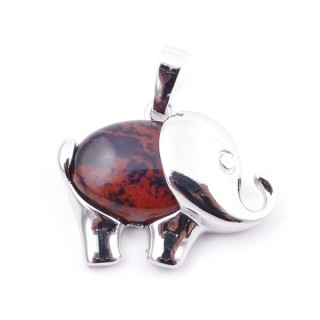 36031-34 METAL ELEPHANT 23 X 27 MM PENDANT WITH STONE IN CARNEOLE