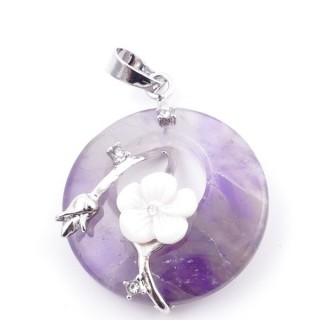 38103-05 METAL PENDANT WITH ROUND 28 MM STONE IN AMETHYST