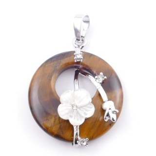 38103-09 METAL PENDANT WITH ROUND 28 MM STONE IN TIGER'S EYE