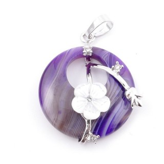 38103-27 METAL PENDANT WITH ROUND 28 MM STONE IN AGATE