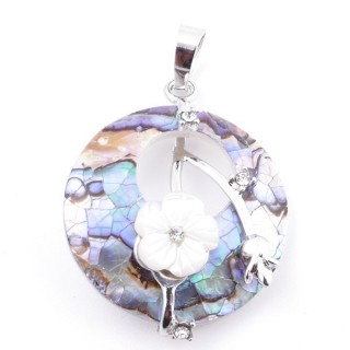 38103-33 METAL PENDANT WITH ROUND 28 MM ABALONE SHELL