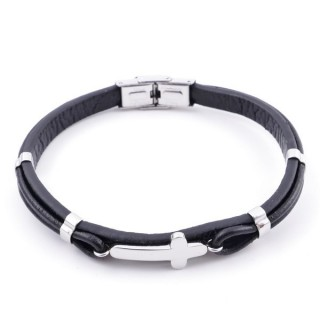 38381 ADJUSTABLE STAINLESS STEEL & LEATHER BRACELET FOR MEN