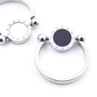 38447 PACK OF 10 STAINLESS STEEL RINGS IN ASSORTED SIZES. REVERSIBLE