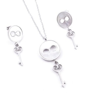 38432 STAINLESS STEEL AND MOP NECKLACE & EARRINGS SET