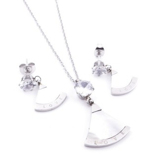 38434 STAINLESS STEEL AND MOP NECKLACE & EARRINGS SET