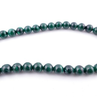 41877 40 CM STRING OF 10 MM NATURAL MALACHITE BEADS