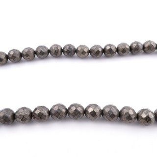 43517 40 CM STRING OF 10 MM FACETED PYRITE BEADS