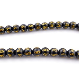 40514 40 CM STRING OF 10 MM ONYX BEADS WITH OM MANI INSCRIPTION