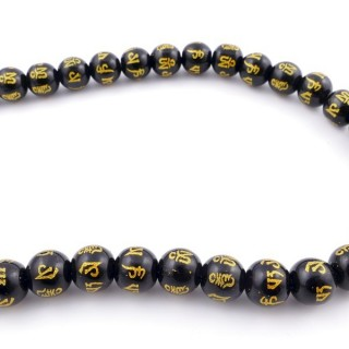 40515 40 CM STRING OF 12 MM ONYX BEADS WITH OM MANI INSCRIPTION