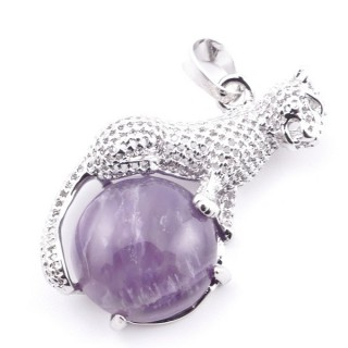 38111-05 PANTHER SHAPED METAL 34 X 21 MM PENDANT WITH STONE IN AMETHYST