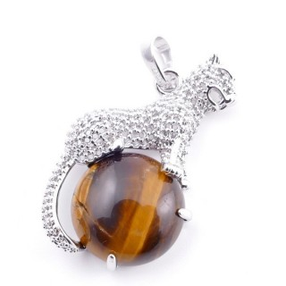 38111-09 PANTHER SHAPED METAL 34 X 21 MM PENDANT WITH STONE IN TIGER'S EYE