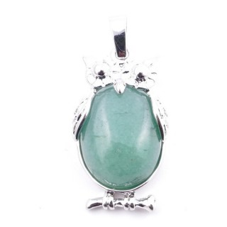38110-12 OWL SHAPED METAL 29 X 15 MM PENDANT WITH STONE IN GREEN AVENTURINE