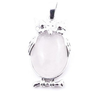 38110-01 OWL SHAPED METAL 29 X 15 MM PENDANT WITH STONE IN WHITE QUARTZ