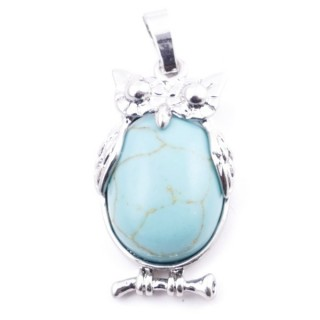 38110-03 OWL SHAPED METAL 29 X 15 MM PENDANT WITH STONE IN TURQUOISE
