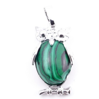 38110-06 OWL SHAPED METAL 29 X 15 MM PENDANT WITH STONE IN MALACHITE