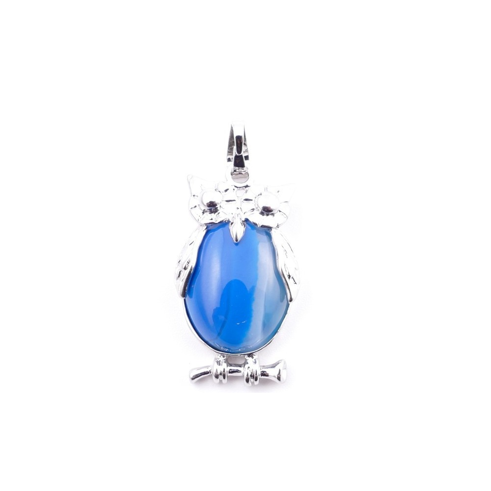 38110-28 OWL SHAPED METAL 29 X 15 MM PENDANT WITH STONE IN AGATE