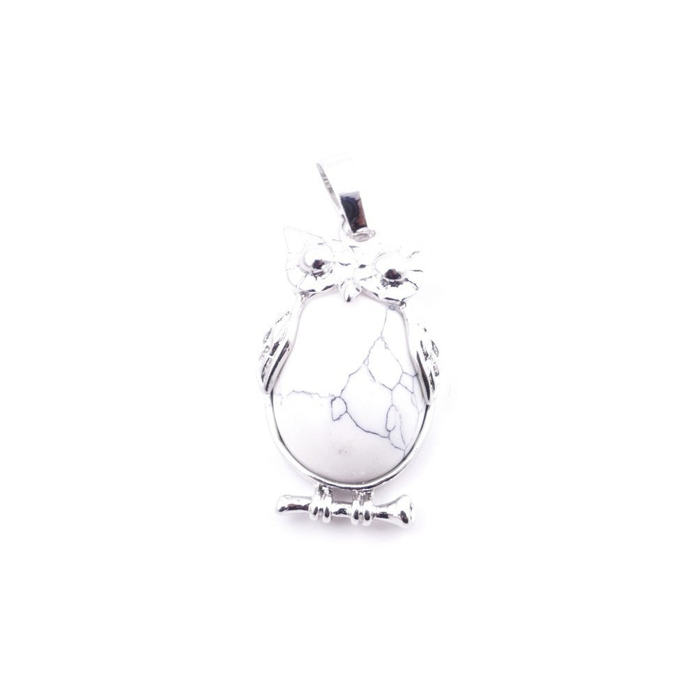 38110-14 OWL SHAPED METAL 29 X 15 MM PENDANT WITH STONE IN HOWLITE