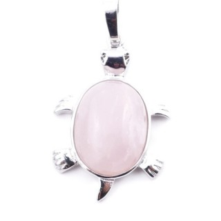 38109-02 TURTLE SHAPED 34 X 22 MM METAL PENDANT WITH STONE IN ROSE QUARTZ