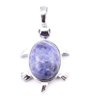 38109-16 TURTLE SHAPED 34 X 22 MM METAL PENDANT WITH STONE IN SODALITE