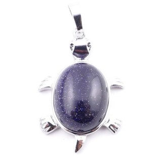 38109-11 TURTLE SHAPED 34 X 22 MM METAL PENDANT WITH STONE IN BLUE SANDSTONE