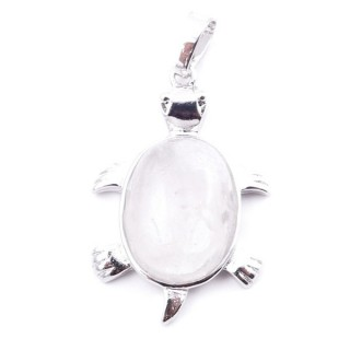 38109-01 TURTLE SHAPED 34 X 22 MM METAL PENDANT WITH STONE IN WHITE QUARTZ