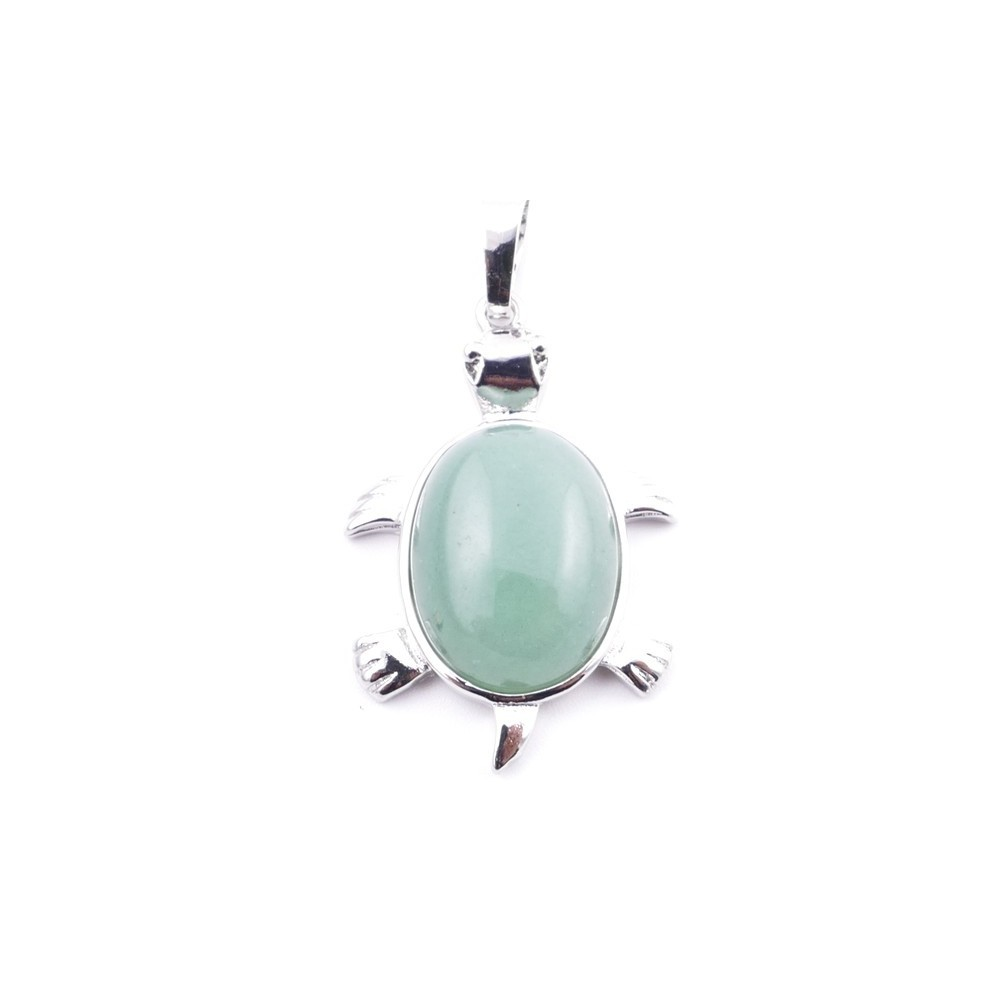 38109-12 TURTLE SHAPED 34 X 22 MM METAL PENDANT WITH STONE IN GREEN AVENTURINE