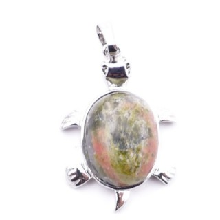 38109-20 TURTLE SHAPED 34 X 22 MM METAL PENDANT WITH STONE IN UNAKITE