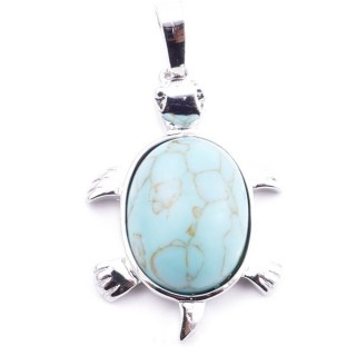 38109-03 TURTLE SHAPED 34 X 22 MM METAL PENDANT WITH STONE IN TURQUOISE