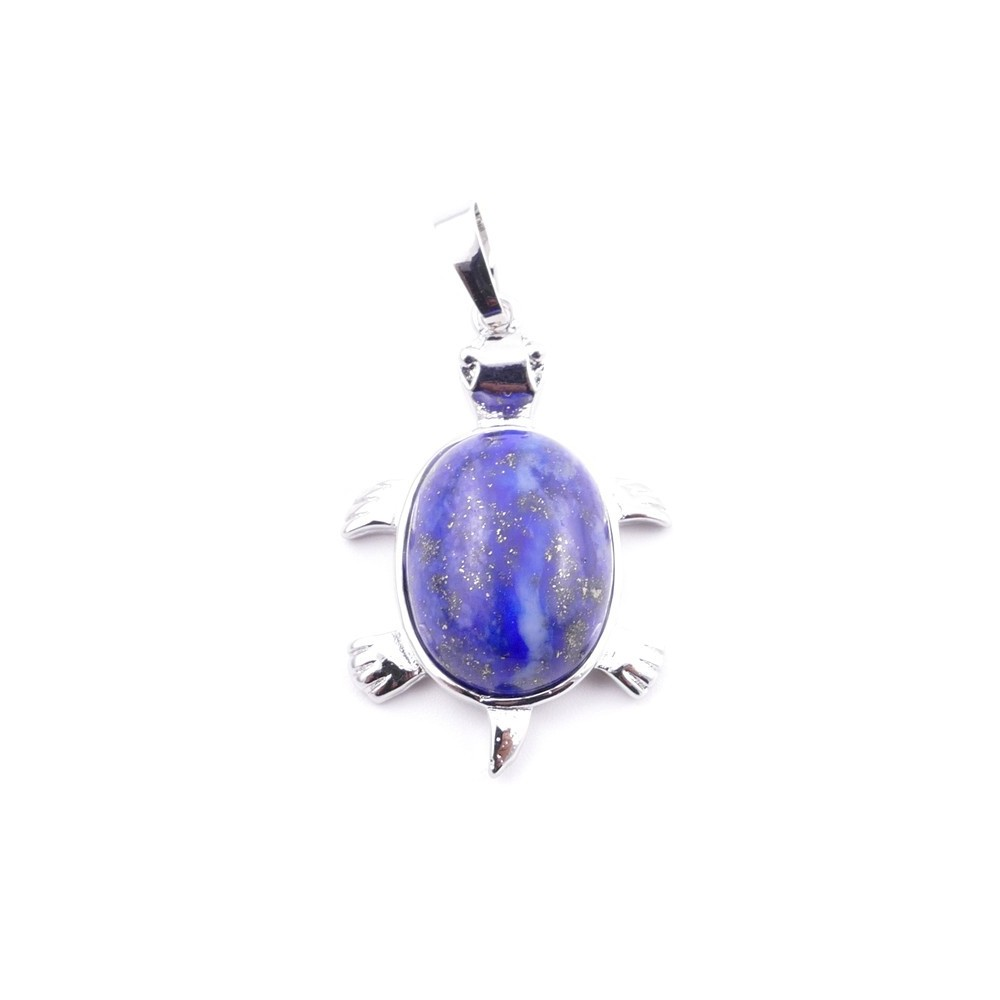 38109-13 TURTLE SHAPED 34 X 22 MM METAL PENDANT WITH STONE IN LAPIS LAZULI