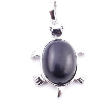 38109-04 TURTLE SHAPED 34 X 22 MM METAL PENDANT WITH STONE IN ONYX