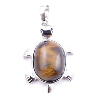 38109-09 TURTLE SHAPED 34 X 22 MM METAL PENDANT WITH STONE IN TIGER'S EYE
