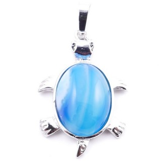 38109-28 TURTLE SHAPED 34 X 22 MM METAL PENDANT WITH STONE IN AGATE